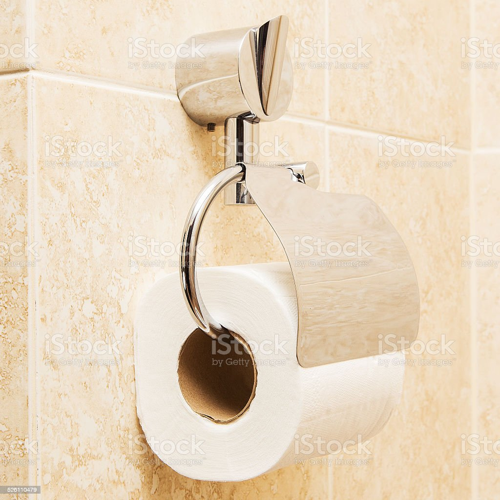 Modern bathroom toilet paper holder - Toilet Paper Holder In The Modern Bathroom Royalty Free Stock Photo