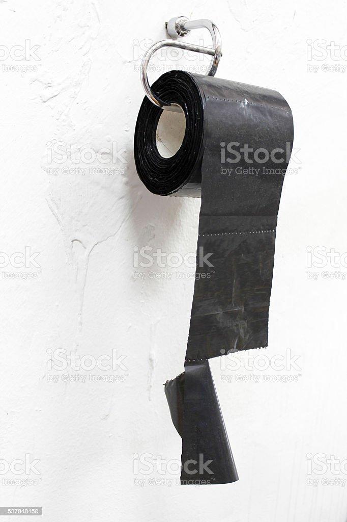 Toilet paper made of nylon as absurd, humor, joke, paradox stock photo