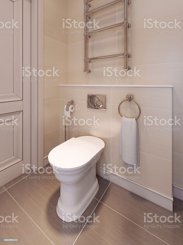 Toilet room in a classical style. in beige tones. stock photo