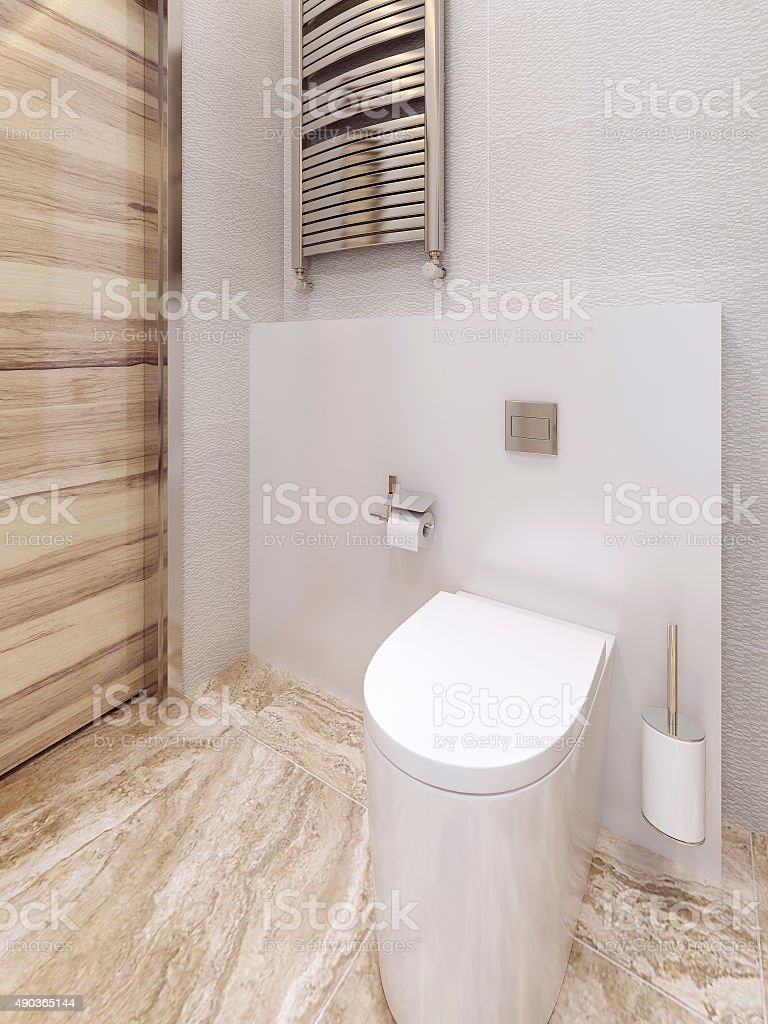 Toilet room in a modern style. beige and yellow. stock photo