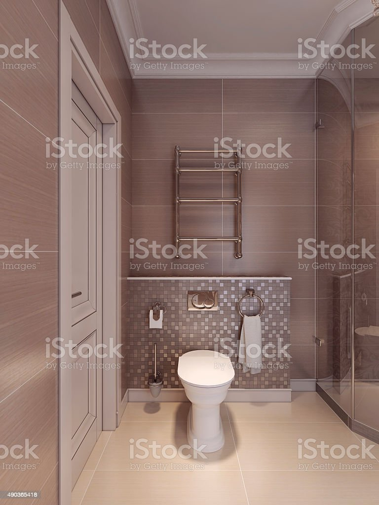 Toilet room in the art deco style. stock photo