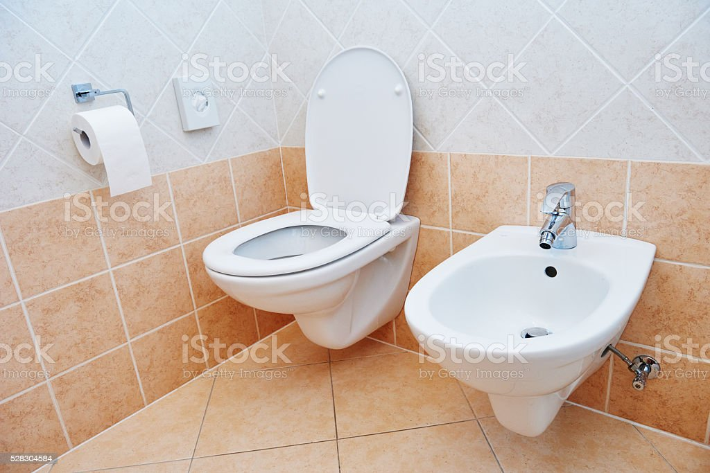 toilet sanitary sink or bowl bidet and paper stock photo