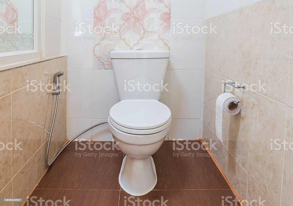 Toilet seat in toilet room and paper stock photo