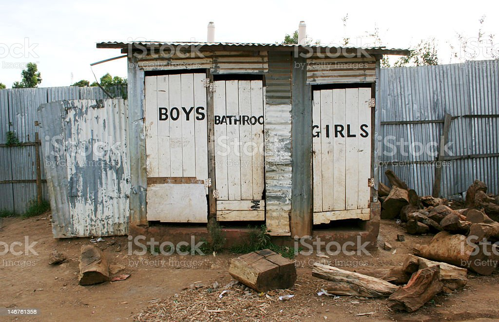 Toilet Shack in Africa stock photo