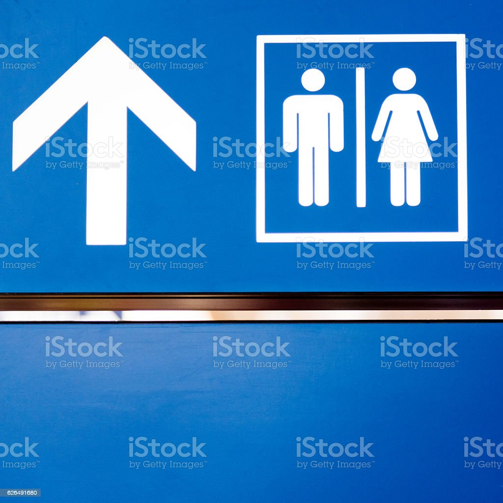 Toilet sign in the airport stock photo