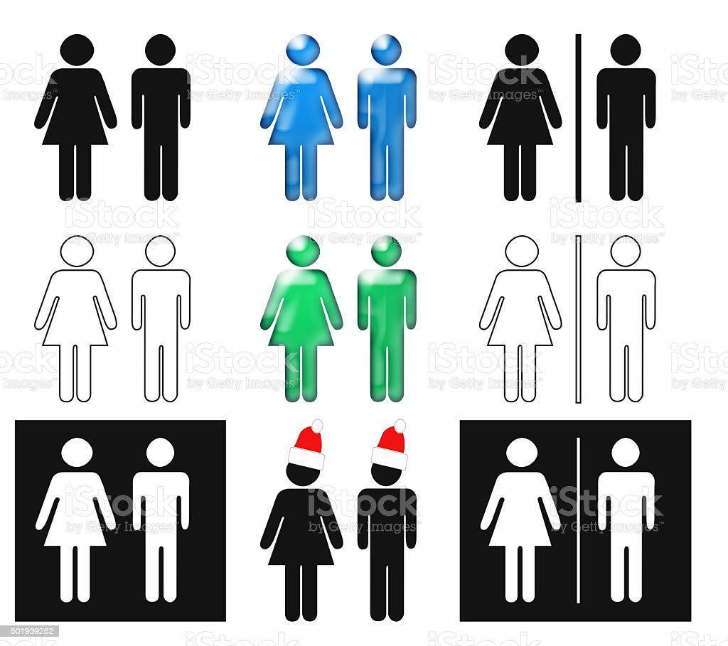 Toilet signs - set of male female icons restroom signs. stock photo