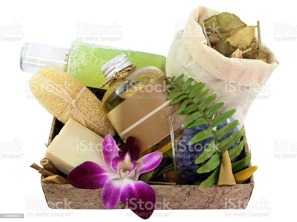 Toiletries Bath gel, salt scrub, massage oil, Zen Set (1) royalty-free stock photo
