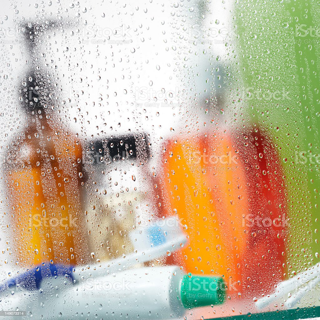 toiletries in bathroom cabinet royalty-free stock photo