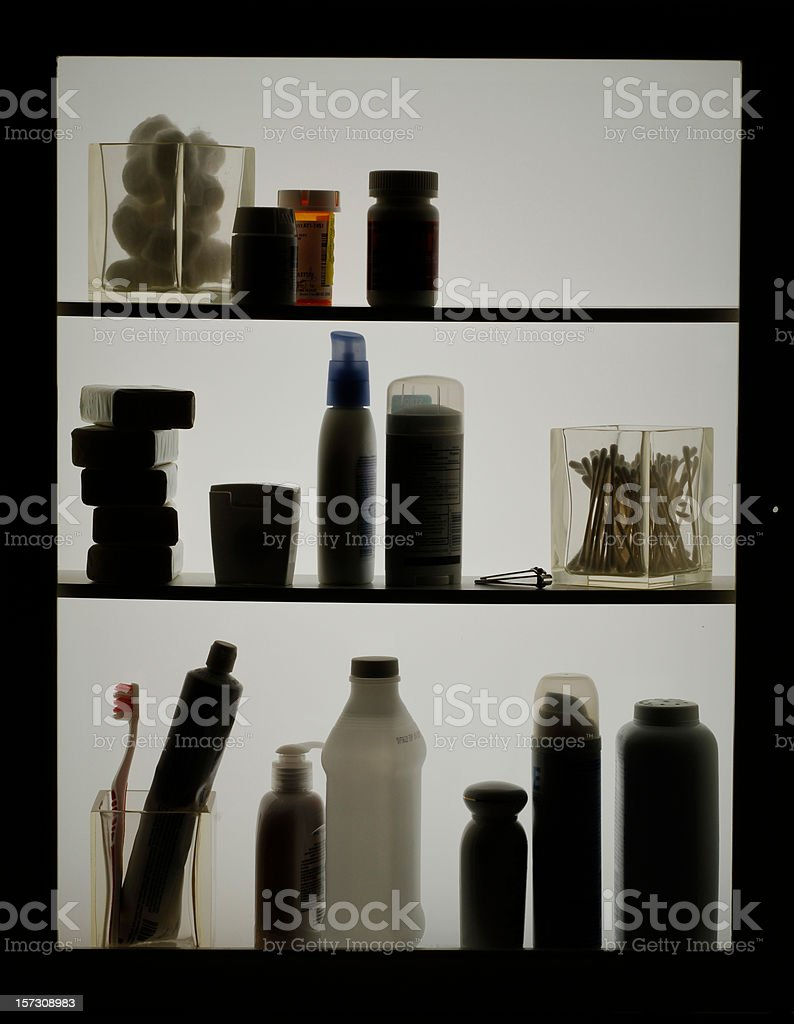 Toiletries in Silhouette royalty-free stock photo