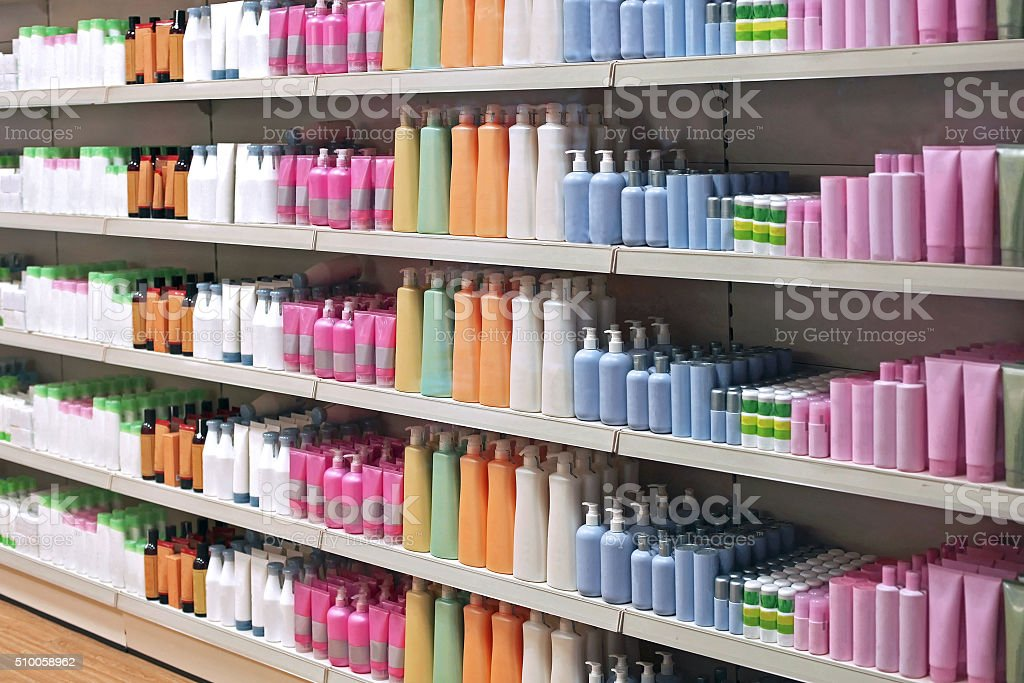 Toiletries retail shelves stock photo