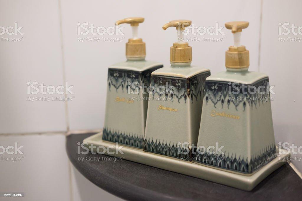 Toiletries tube in a luxury hotel shower gel stock photo