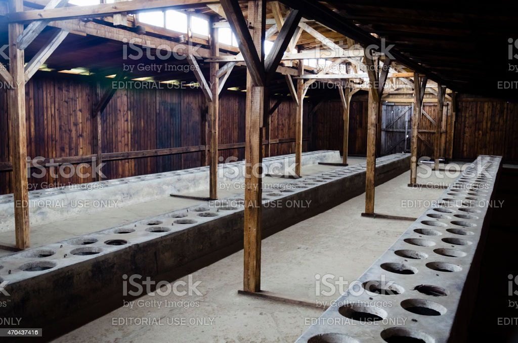 Toilets in Auschwitz concentration camp stock photo