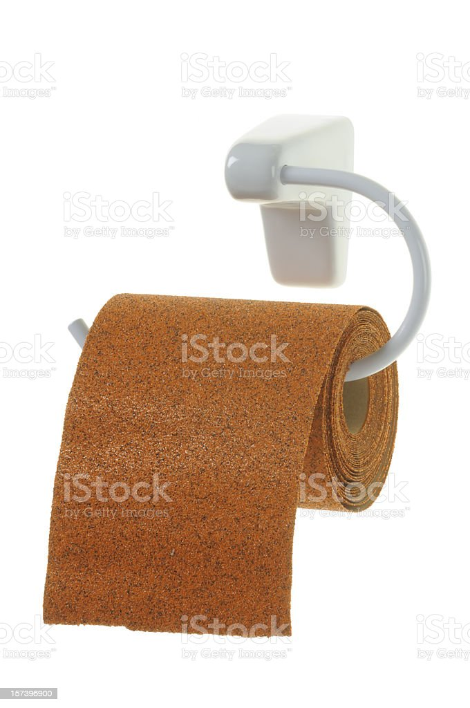 Toilet-Sandpaper (clipping path) stock photo