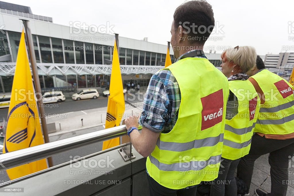 Token strike of Lufthansa ground staff, Frankfurt Airport stock photo