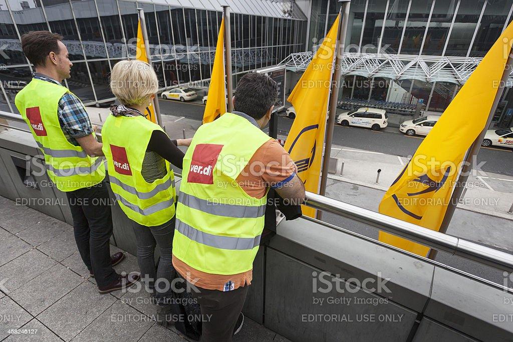 Token strike of Lufthansa ground staff, Frankfurt Airport royalty-free stock photo