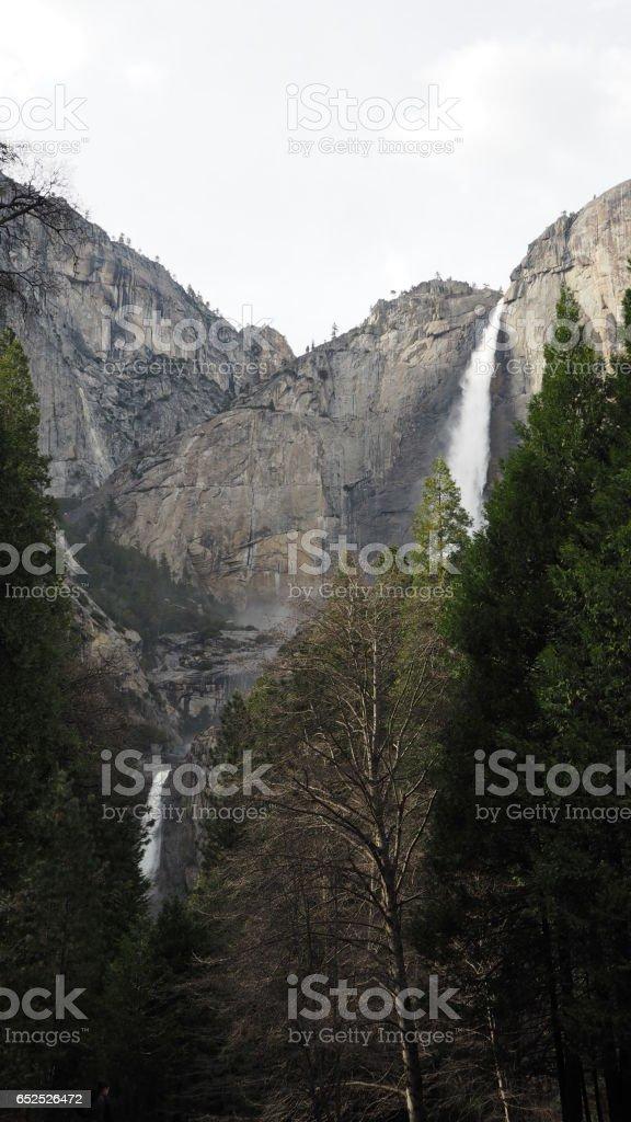 Tokopah Falls cascading waterfall in Sequoia National Park, California. stock photo