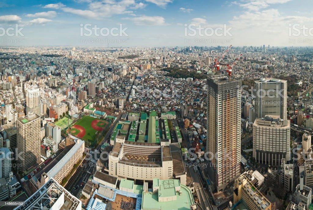 Tokyo aerial cityscape Ikebukuro Bunkyo-Ku downtown skyscrapers apartments panorama Japan royalty-free stock photo