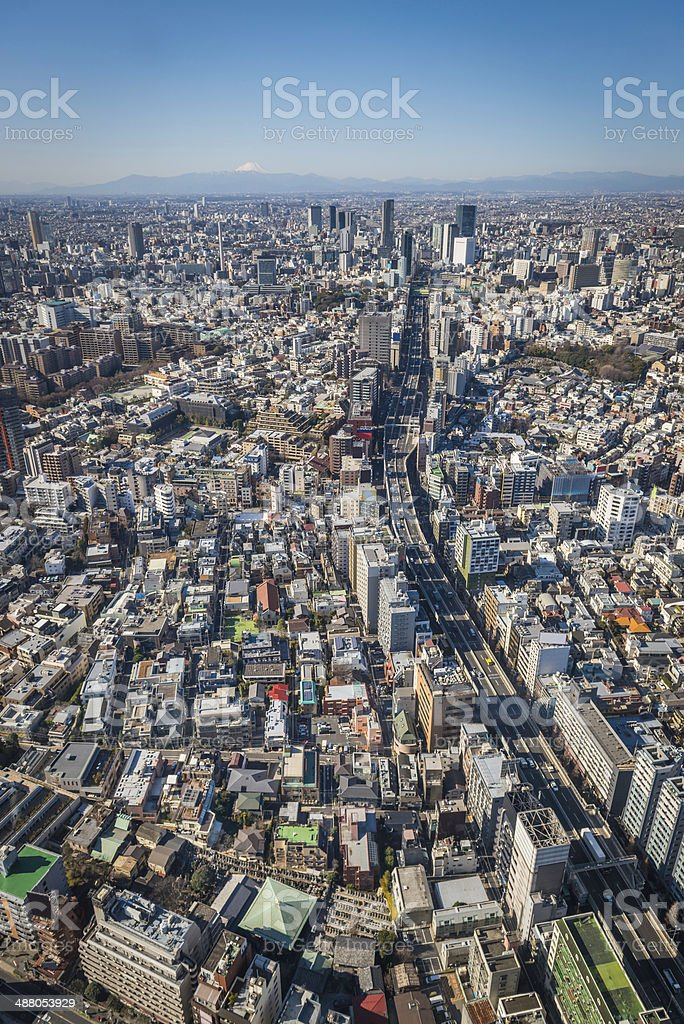 Tokyo aerial view over crowded city towards Mt Fuji Japan royalty-free stock photo