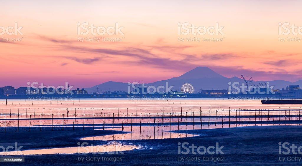 Tokyo bay and Mountain Fuji at beautiful twilight stock photo