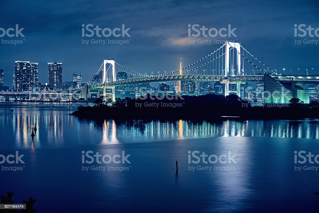 Tokyo bay and Tokyo rainbow bridge stock photo