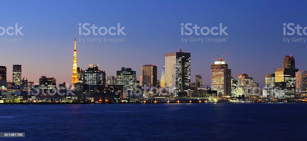 Tokyo Bay at dusk stock photo