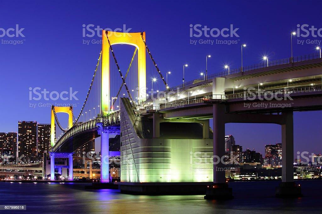 Tokyo Bay at night stock photo