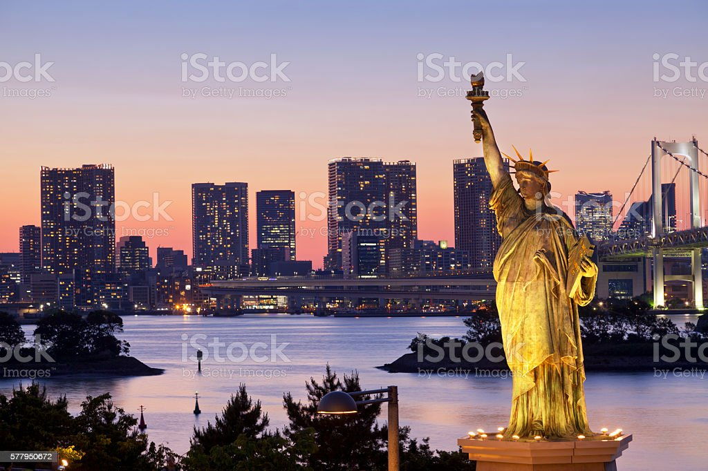 Tokyo Bay At Night with statue of liberty stock photo