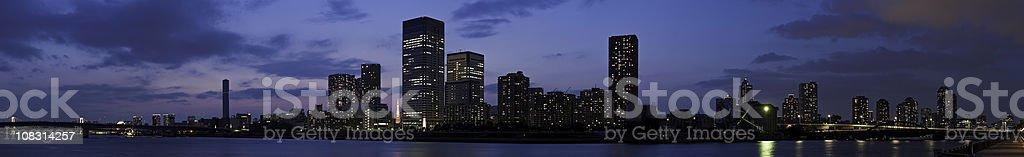 Tokyo Bay glittering city lights illuminated skyscrapers Sumida panorama Japan royalty-free stock photo