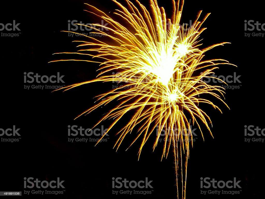Tokyo Bay Grand Fireworks Festival on dark background stock photo