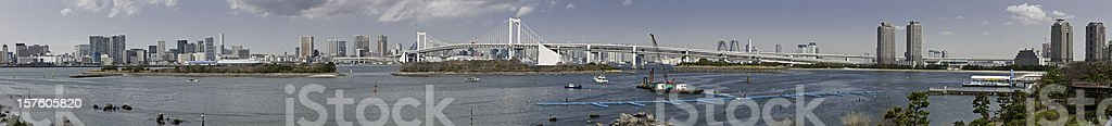 Tokyo Bay mega panorama Odaiba Rainbow Bridge Minato-ku Chuo-ku Japan royalty-free stock photo