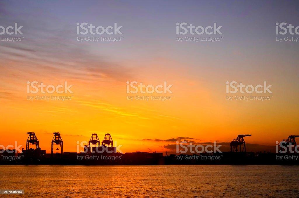 Tokyo Bay of gantry crane stock photo