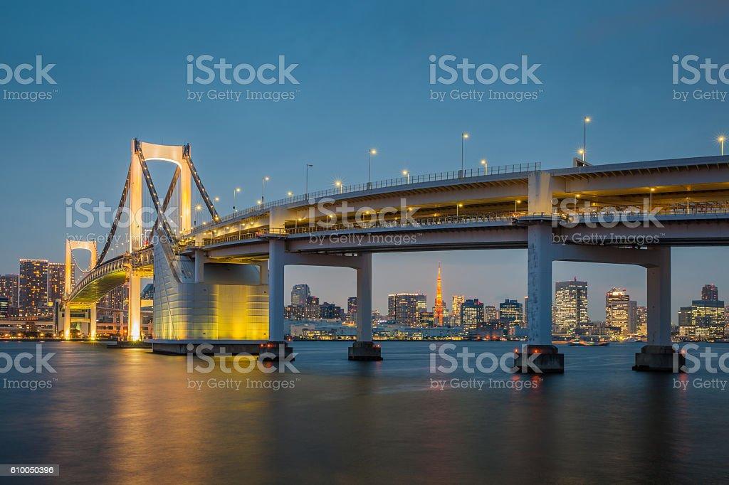 Tokyo bay view with Tokyo Rainbow bridge and Tokyo Tower stock photo