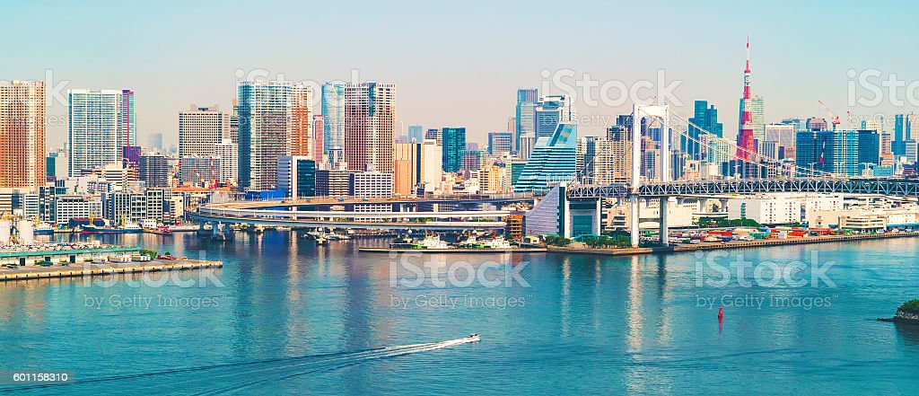 Tokyo Bay with a view of the Tokyo skyline stock photo