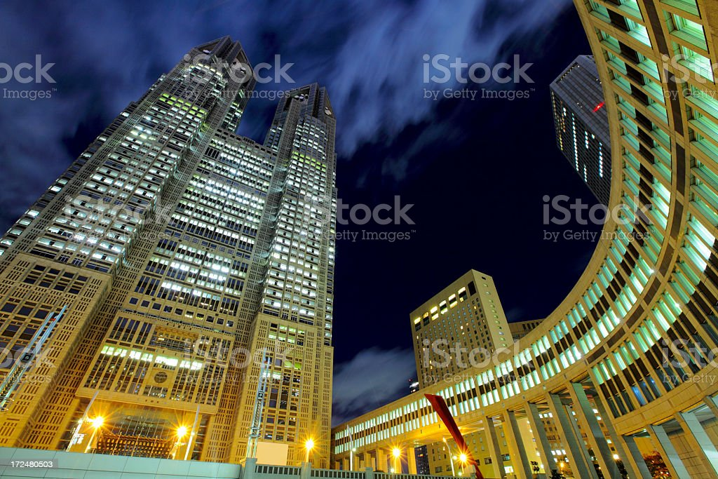 Tokyo business building at night royalty-free stock photo