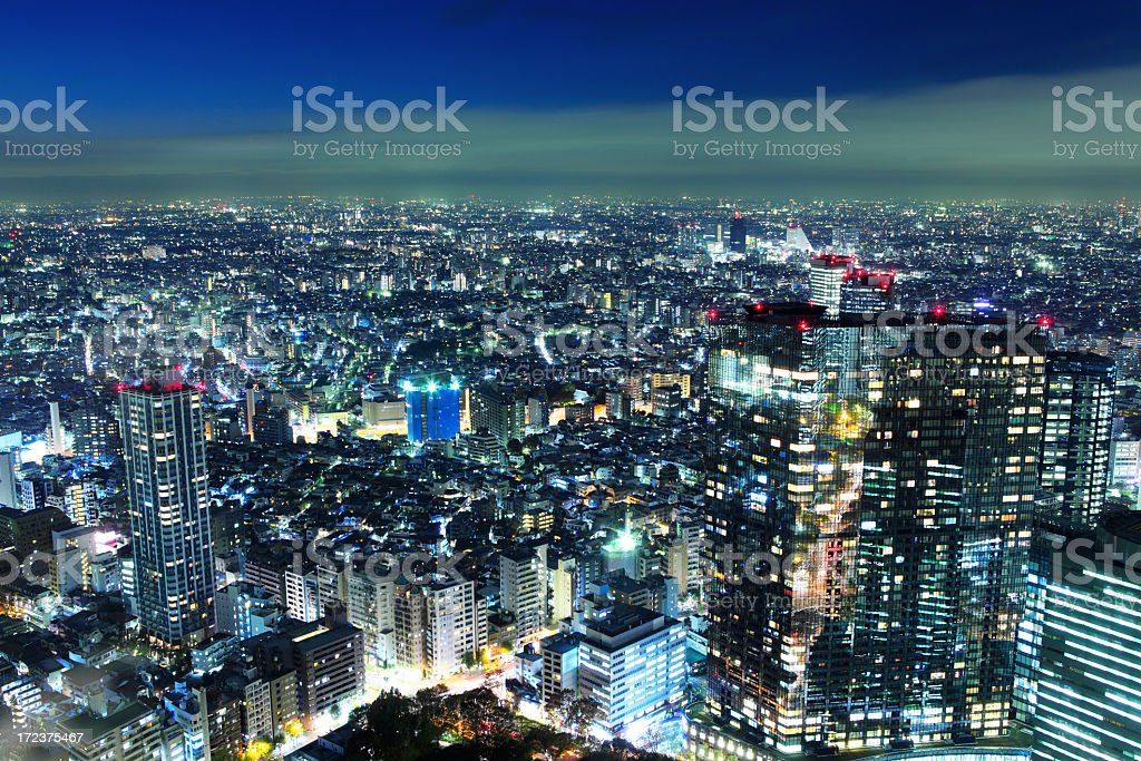 Tokyo city at night royalty-free stock photo