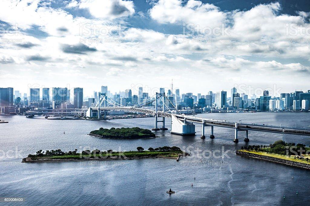 Tokyo city modern bridge and downtown cityscape stock photo