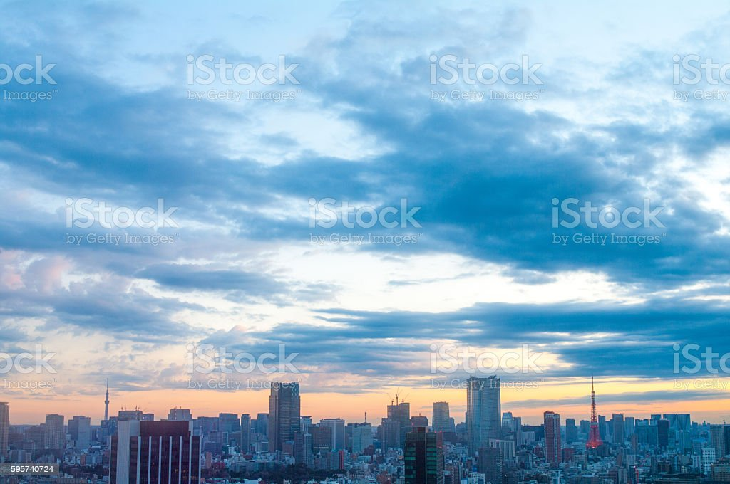 tokyo city morning grow view ,japan ストックフォト