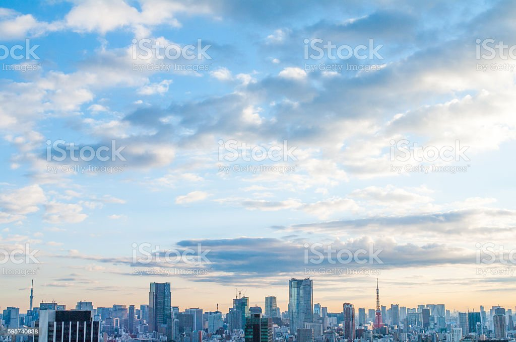 tokyo city morning grow view ,japan stock photo