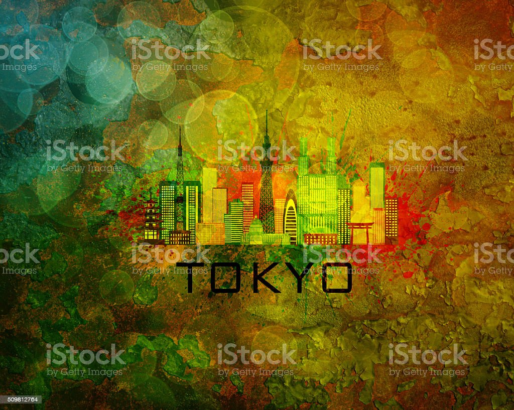 Tokyo City Skyline on Grunge Background Illustration stock photo