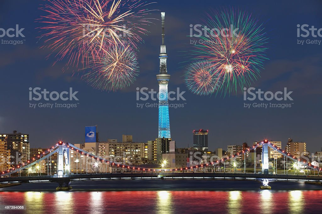 Tokyo city view and beautiful firework at night stock photo