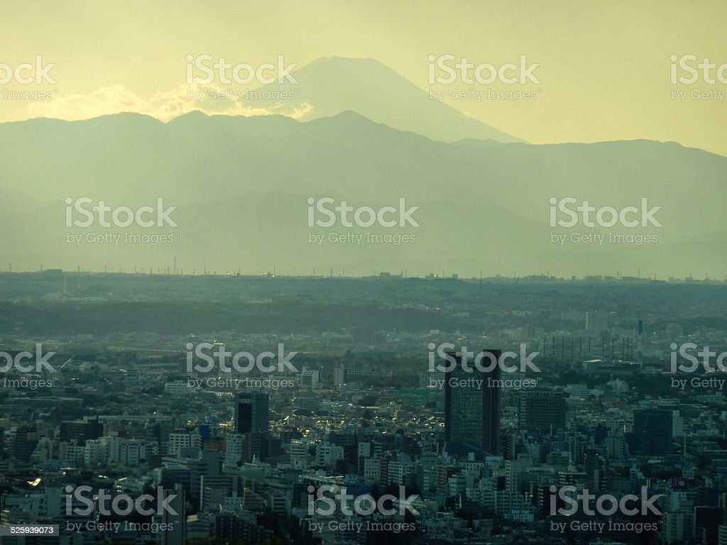 Tokyo cityscape and Mount Fuji stock photo