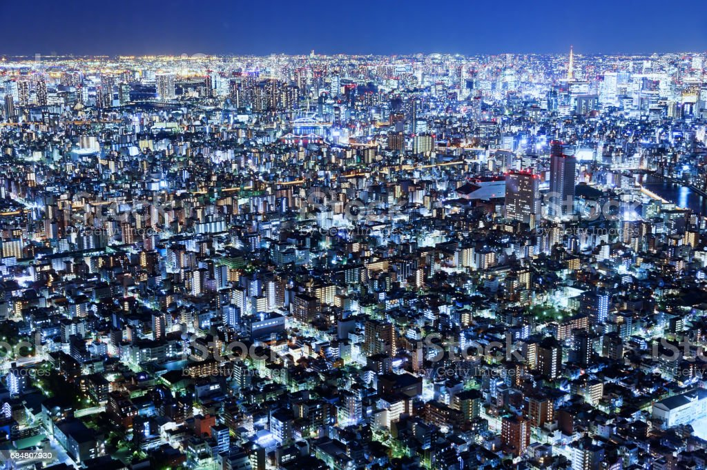 Tokyo cityscape at night in Japan stock photo