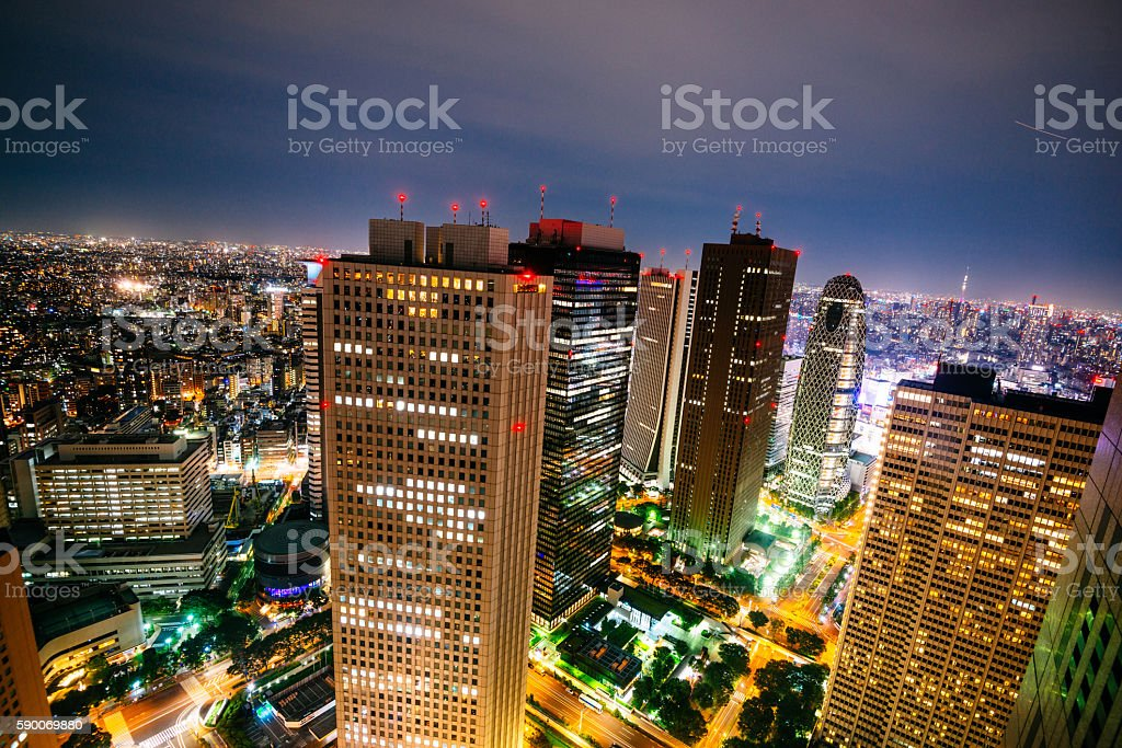 Tokyo cityscape from high angle view at night stock photo