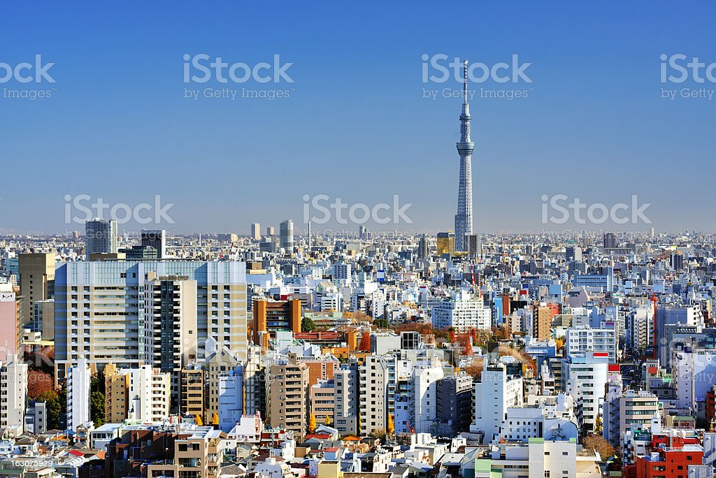 Tokyo cityscape on a clear blue day stock photo
