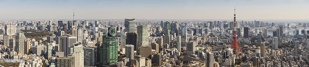 Tokyo cityscape panorama over downtown skyscrapers and landmarks Japan stock photo