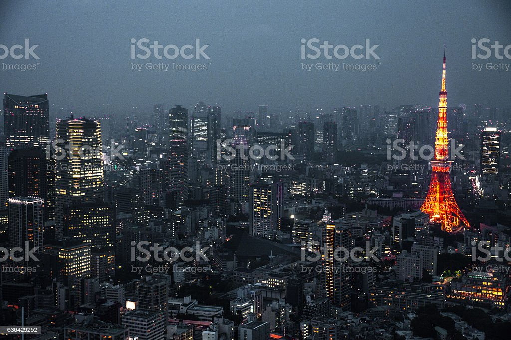 Tokyo cityscape, tower and skyscrapers stock photo