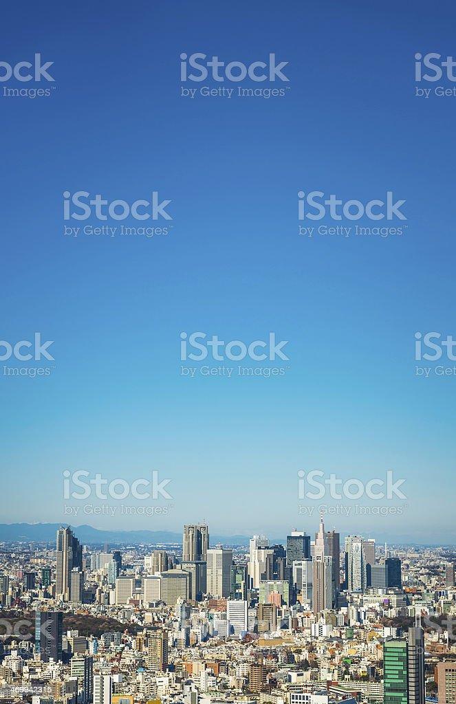 Tokyo clear blue skies over skyscraper cityscape Shinjuku Japan stock photo