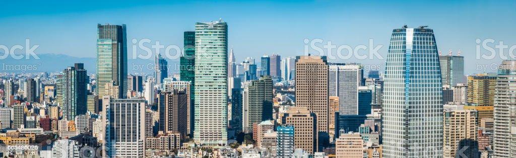 Tokyo crowded cityscape panorama Roppongi Shinjuku skyscrapers Japan stock photo