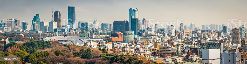 Tokyo downtown skyscrapers and crowded cityscape panorama Japan stock photo