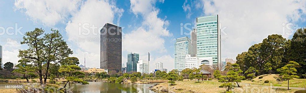 Tokyo downtown skyscrapers towers landmarks Kyoshibarikyo Shimbashi Shiodome panorama Japan stock photo